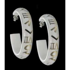 Beautiful 24kt Gold Leaf & White Resin Hoop Earrings Jewelry