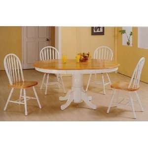 Wood Oval Dining Table + 4 Windsor Chairs Set Furniture & Decor