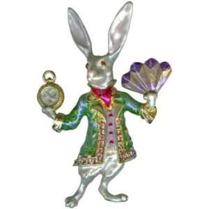 Kirks Folly On Time White Rabbit Pin BUNNY BROOCH Alice in