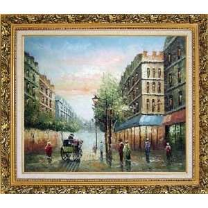 Walk on Paris Street Scene Oil Painting, with Ornate Antique Dark