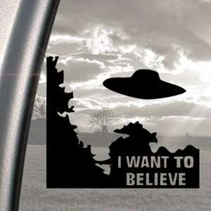 I WANT TO BELIEVE Alien UFO X Files Black Decal Car