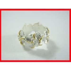 White Topaz Flower Pendant Sterling Silver & Gold #2792