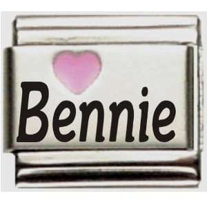Bennie Pink Heart Laser Name Italian Charm Link Jewelry