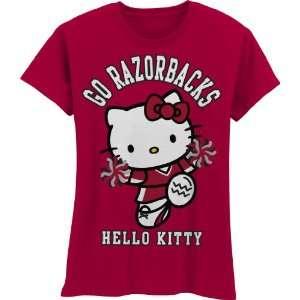 NCAA Arkansas Razorbacks Hello Kitty Pom Pom Girls Crew Tee Shirt
