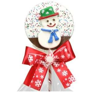 Golda & I Chocolatiers White Snowman Lolly Dipped Milk, Green Hat, 4.6