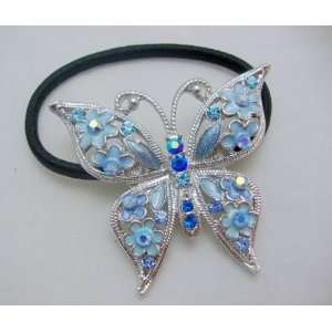 Blue Crystal Butterfly Pony Tail Holder