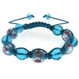 Handmade Sky Blue Crystal Beads Flower Design On Adjustable Macrame