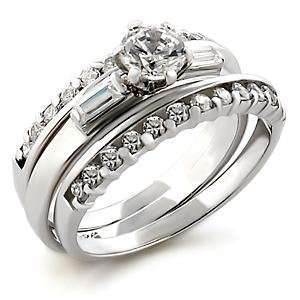 Size 7 Wedding Clear Cubic Zirconia Brass Rhodium Ring AM