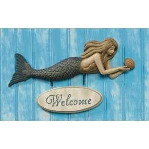 Mermaid Siren Welcome Sign Plaque Door Home Decor, Size 14 X