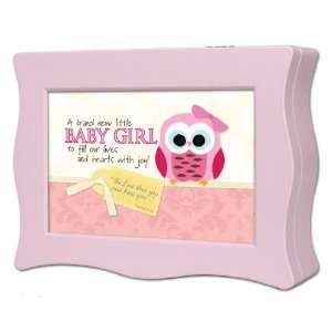 Baby Girl Cottage Garden Pink Wavy Music Box Plays Jesus