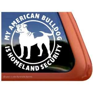 Contact Homeland Security on My American Bulldog Is Homeland Security Vinyl Window