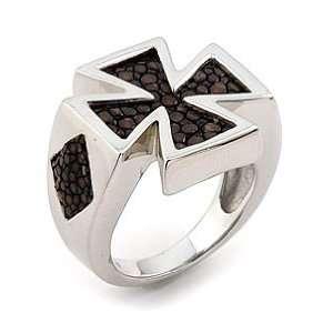 Silver Mocha Stingray Leather Iron Cross Ring   RingSize 7 Jewelry