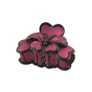 Rosallini Lady Red Black Plastic Butterfly Shaped 10 Teeth Hair