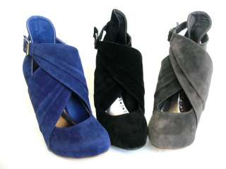 NEW Blue Suede Platform Closed toe Heel Pump Booties