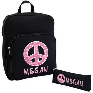 Leopard Print Peace Sign Backpack and Pencil Case: Personalized Gifts