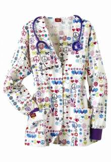 Dickies Medical Uniforms Peace Talk print scrub jacket.   Scrubs and