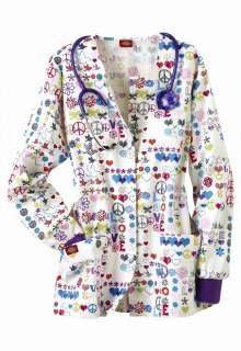 Dickies Medical Uniforms Peace Talk print scrub jacket.   Scrubs and