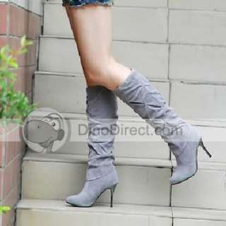 Wholesale SIB Fashion Women Solid Heel Knee High Boots Shoes