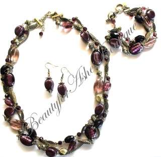 PREMIER DESIGNS JEWELRY PURPLE IRIS LAYERED NECKLACE BRACELET DROP