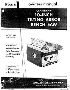 Craftsman Table Saw Manual Model # 113.29940