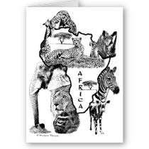 Wild African Animals Art Greeting Card by MostlyAnimalArt