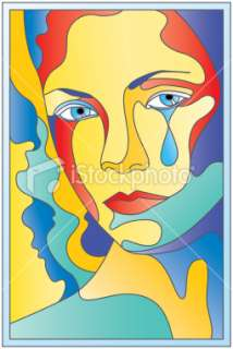 Sadness in stained glass Royalty Free Stock Vector Art Illustration