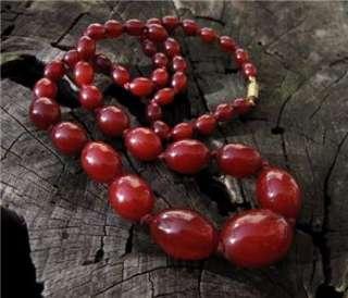 ART DECO CHERRY AMBER BAKELITE NECKLACE 43 GRAMS