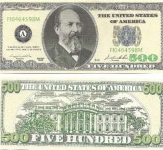 25 FIVE HUNDRED DOLLAR BILLS/ 500 dollar bill novelty