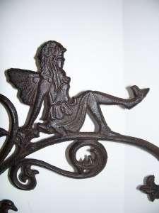 Cast Iron Bronze Angel Fairy Flower Garden Plant Pot Holder Hanger