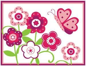 BUTTERFLY FLOWER GARDEN PINK GREEN BABY GIRL NURSERY WALL BORDER
