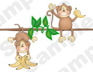BABY MONKEYS JUNGLE NURSERY WALL BORDER STICKERS DECALS