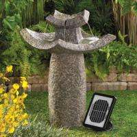 Outdoor Solar Temple Water Garden Fountain w/ solar powered pump