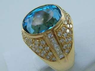 Stunning 18k.Yellow Gold Blue Topaz & Diamond Ring