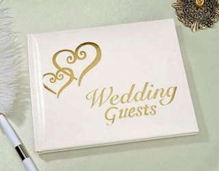 Elegant Wedding Bridal Guest Book Album with DOUBLE HEARTS ~ GOLD