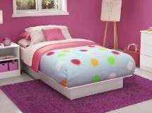 White Twin Size Platform Bed   No Box Spring Required Comp Wood Frame