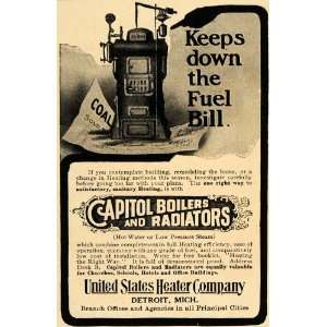 Heaters Capitol Radiators Boilers   Original Print Ad