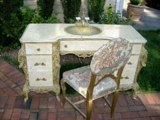 Budoir Carved Gilt Wood Dresser/Vanity/Set Mirror Chair Sink
