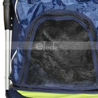 BestPet Blue 3 wheel pet dog cat stroller w/RainCover