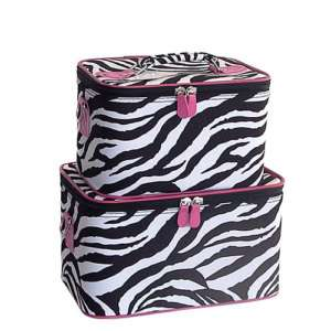 PINK ZEBRA SET 2 Cosmetic Case Luggage Tote makeup bag