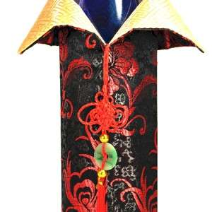 SILK WINE BOTTLE COVER Bag Chinese Brocade Fabric Gift NEW Black Red