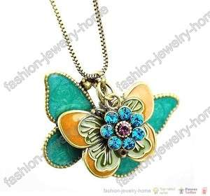 Fashion Retro bronze Crystal Flying Butterfly Necklace pendant