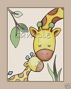 Jungle/safari Giraffe Baby/kid Animal Nursery Art/decor