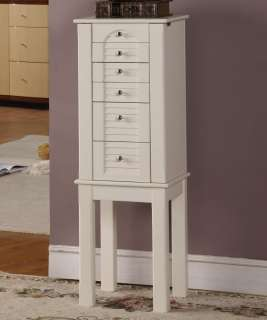 Wooden Jewelry Cabinet Armoire Necklace Storage & 5 Drawers
