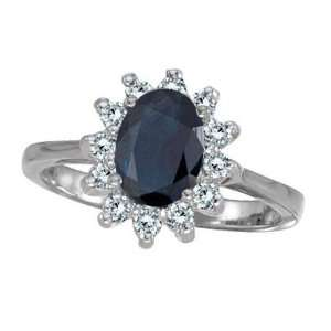 Lady Diana Blue Sapphire and Diamond Ring 14k White Gold (2.10 ctw)