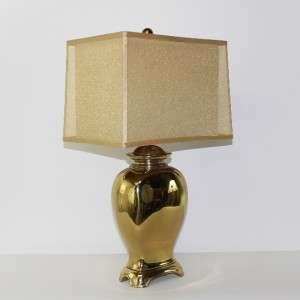 Vg 1970s Hollywood Regency Brass Lamp wih Shade Chinoiserie Asian