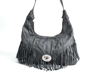 Western Style Cowgirl Leather Fringe Handbag Hobo Purse
