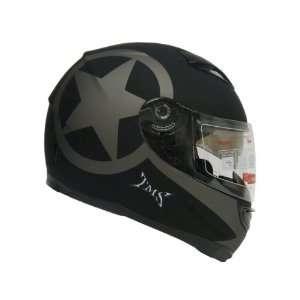 TMS Star Matte Black Dual Visor Full Face Motorcycle Helmet W/ Smoke