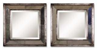 Distressed Antiqued Silver Square Mirror Set Horchow