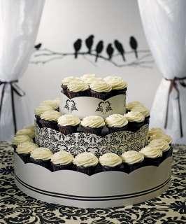Wedding 3 Tier Display Cupcake Tower Love Bird Damask
