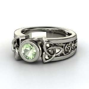 Celtic Sun Ring, Round Green Amethyst 14K White Gold Ring Jewelry